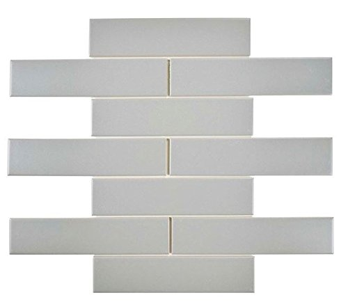 "Subway Tile Gloss Finish 2"" X 8"" (Box of 10 Sqft), Wall Tile, Floor Tile, Backsplash Tile, Bathroom Tile, Vogue Brand Designed in Italy (Gray)"
