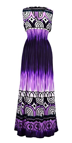 Peach Couture Exotic Tahiti Multicolor Tie Dye Border Print Maxi Dress (Medium, Tie-Dye Purple) Paisley Print Silk Dress