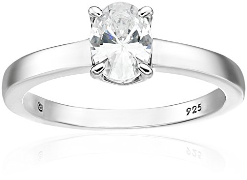 Oval Solitaire Ring Setting (Platinum-Plated Sterling Silver Swarovski Zirconia Oval-Shape Solitaire Ring (1.5 cttw), Size 6)