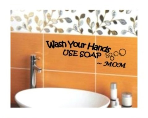 BERRYZILLA Wash Your Hands USE SOAP Mom Decal Wall Vinyl Bathroom Lettering Art quote sticker (Come with 1 GlowInDark Monster switchplate Decal) StickerCitI (Bathroom Wall Decal Quotes)