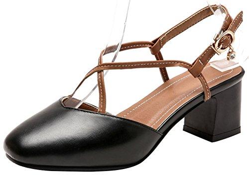(Mofri Women's Retro Closed Square Toe Cross Strap Cut Out Buckle Sling Back Shoes Block Medium Heels Sandals (Black, 9 B(M) US))