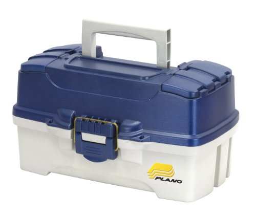 Plano 2-Tray Tackle Box with Dual Top Access, Blue Metallic/Off White, Premium Tackle Storage