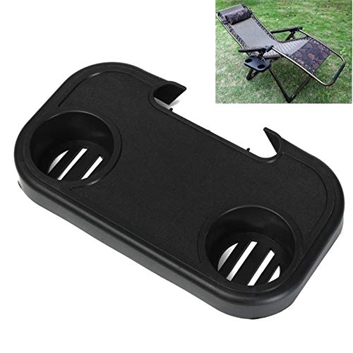 SODIAL Outdoor Chair Portable Beverage Tray Folding Chair Universal Tea Tray Convenient Cup Holder Mobile Phone Shelf Beach Lounge Chair Plastic Accessories