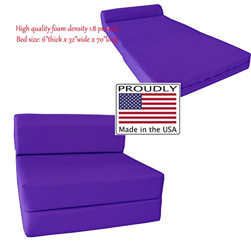 "Purple Sleeper Chair Folding Foam Bed Sized 6"" Thick X 32"" Wide X 70"" Long, Studio Guest Foldable Chair Beds, Foam Sofa, Couch, High Density Foam 1.8 Pounds."