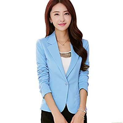 MWW Juniors Casual Office Blazer OL Long Sleeve Suits Slim Fit One Button Jacket