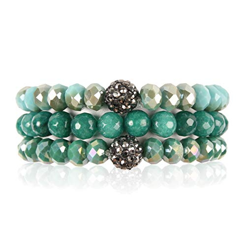 RIAH FASHION Bead Multi Layer Versatile Statement Bracelets - Stackable Beaded Strand Stretch Bangles Sparkly Crystal, Faux Druzy, Pave Fireball (Pave Ball & Natural Stone Mix - Turquoise)