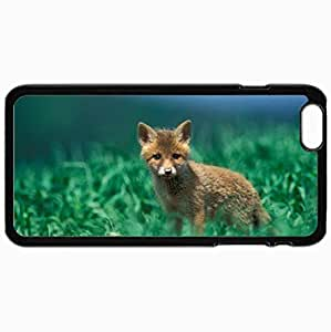 Personalized Protective Hardshell Back Hardcover For iPhone 6 Plus, Fox Design In Black Case Color