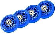 Yantan 4 Pack Inline Skate Wheels Indoor/Outdoor Roller Blades Replacement Wheel with Bearings 70mm,Blue