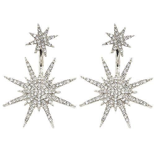 - Snowflake Dangle Earrings Drop Rhinestone Crystal Ear Studs Snowflake Tassel Dangling Earrings Women Girls Cute Wedding Bridal Holiday Delicate Charms Jewelry Dangle Silver Plated