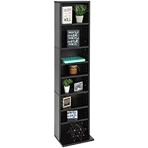 Best Choice Products 8-Tier Media Console Shelf Storage Organization Cabinet Tower Bookcase for CDs, DVDs, Video Games, Books w/Adjustable Shelves and 150lb Capacity Per Shelf - Black