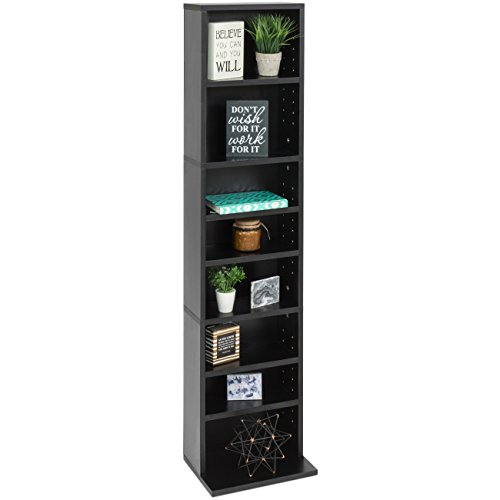 - Best Choice Products 8-Tier Media Console Shelf Storage Organization Cabinet Tower Bookcase for CDs, DVDs, Video Games, Books with Adjustable Shelves and 150lb Capacity Per Shelf, Black