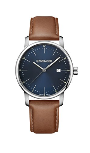 Wenger-Mens-Urban-Classic-Quartz-Stainless-Steel-and-Leather-Casual-Watch-ColorBrown-Model-011741111