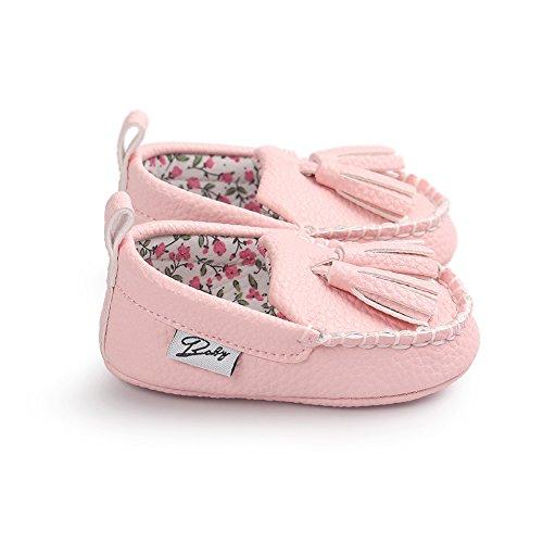 Zapatos para niños y niñas tipo mocasín Itaar - Suela suave piel sintética marrón marrón Talla:6-12 meses rosa