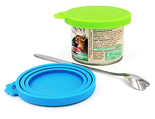 Comtim Pet Food Can Lids, Silicone Can Covers for Dog Cat Food, Universal Size Fit Small Medium Large Cans, 2 Pack and 1 Pet Food Cans Spoon