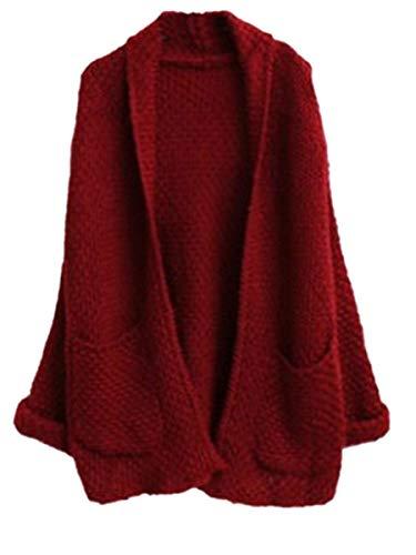 Maglia Giacca Con Donna Tasche Monocromo Fashion A Manica Elegante Outerwear Primaverile Autunno Relaxed Burgund Cappotto Pullover Tempo Giovane Lunga Giubotto Libero S11pnFx