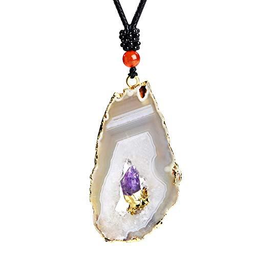 - iSTONE Natural Gemstone Agate Slice with Amethyst Irregule Shape Healing Crystals Chakra Stones
