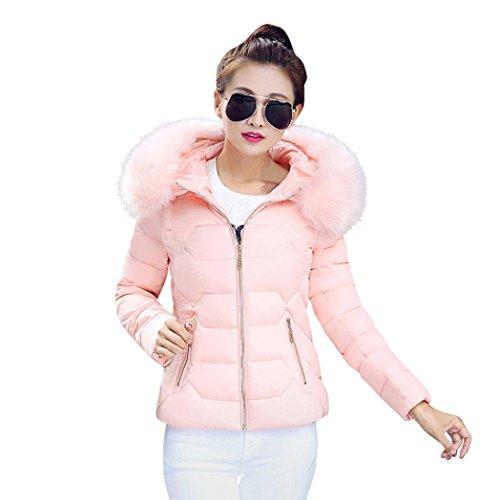 giacca Autunno Manica invernali leggero Piumino Donna Con BeautyTop Caldo Down Rosa Cappuccio Colletto Cappotto Cappotto BpxxqUH