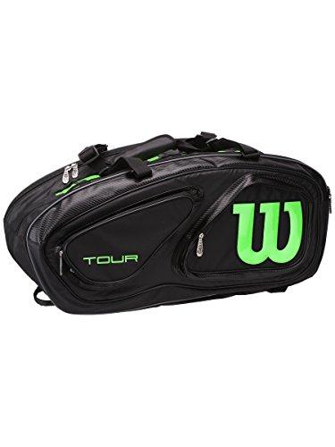 Wilson Tour V 15 Pack Tennis Bag, Black/Lime