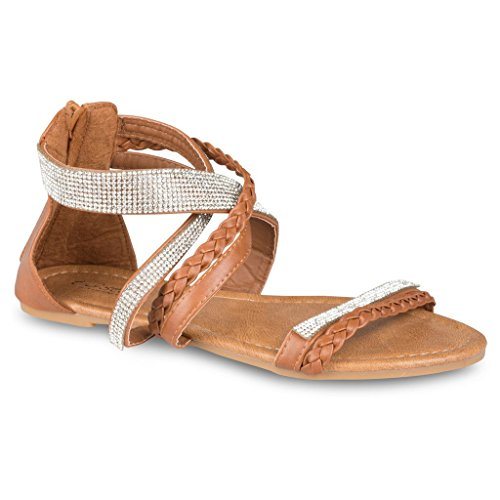 Rhinestone Dressy Sandal (Twisted Women's Daisy Faux Leather T-strap Sandal with Rhinestone Accents - BROWN, Size)