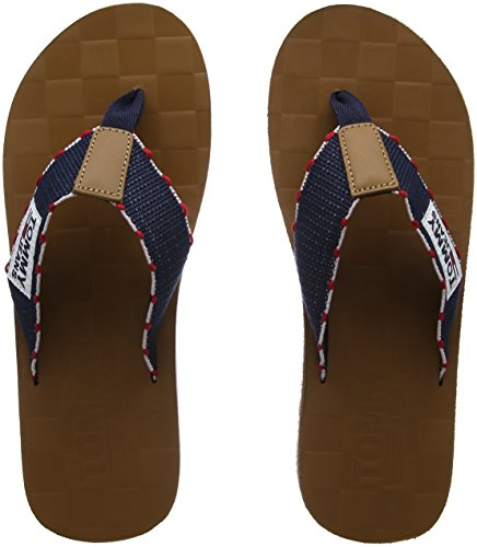 Tommy Jeans Men's Tj Leather Footbed Beach Sandal Flip Flops, Midnight Blue Blue (Ink-tango Red 903)