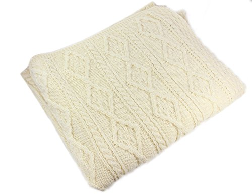 100% Irish Merino Wool Cream Wool Blanket by Carraig - Clothing Stores Westport