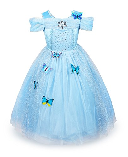 2t Cinderella Costume (ReliBeauty Girls Cinderella Dress Halloween Costume (2T-3T, Light Blue))