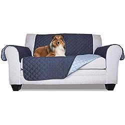 Furhaven - Funda para muebles de mascota, reversible, resistente al agua, dos tonos, acolchada, para sala de estar, cubierta protectora para cama de mascotas para perros y gatos, disponible en varios colores y estilos, Funda de sofá, Azul Marino/Azul Claro, Sillón de dos plazas