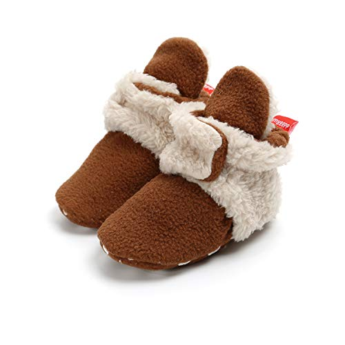 Save Beautiful Newborn Infant Baby Girls Boys Slippers Warm Fleece Boots First Walkers Shoes (6-12 Months, A-Brown Apricot)