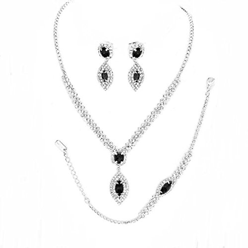 Costume Jewelry Formal (Affordable Wedding Jewelry Clear Rhinestone Crystal Set 3 Pcs Bracelet Earrings Necklace Set (Black))