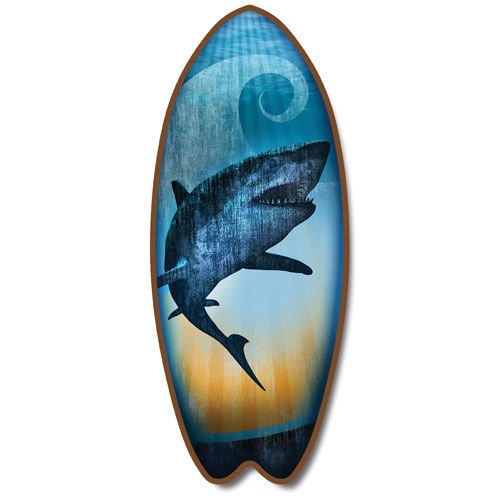 Hawaiian Shark Surfboard Plaque Beach Bathroom Wall Décor Sign