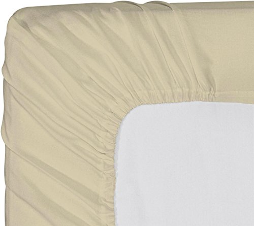 Utopia Bedding Luxurious 100% Combed Cotton Deep Pocket Fitted Sheet-Premium Quality Long Staple Fiber-Hypoallergenic-Breathable-Durable-Comfortable-Fade-Stain-Abrasion Resistant (Twin, Beige)
