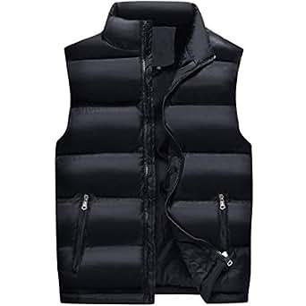 lcky Men's Warm Casual Collar Vest Lightweight Down Jacket(Black 7XL)