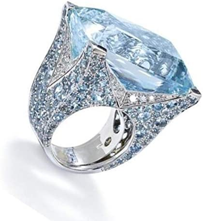 2019 New Unique Floral Ring Moonstone Treasure Sapphire DiamondWedding Band Rings Valentines Day Gifts for Girlfriend Boyfriend