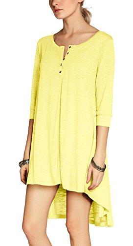 Abito Giallo shirt T Urban Tunica Manica Bottone Tops Camicia Mezza GoCo Casual Donna TTqcvEa7