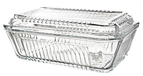 - Glass Butter Dish with Glass Lid, Multi-Purpose Preserving Serving Dessert Dish Tray, 6.75