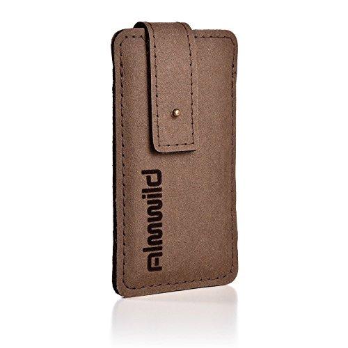 """ALMWILD® Hülle Tasche iPhone 8, 7, 6s, 6 aus Vega-""""Leder"""" mit Verschluß in Widder Braun. Handytasche aus bayerische Manufaktur"""