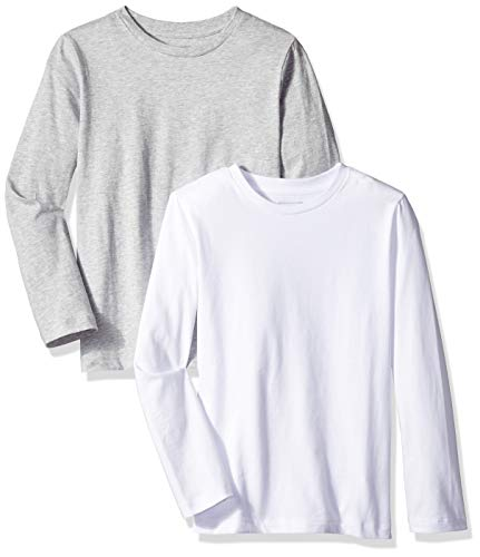Amazon Essentials Toddler Boys' 2-Pack Long-Sleeve Tees, Bright White/BC04 Heather, -