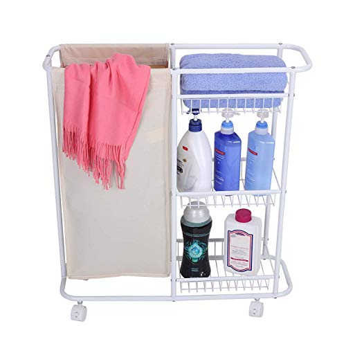 Laundry Sorter Hamper Rolling Storage Cart Heavy Duty With