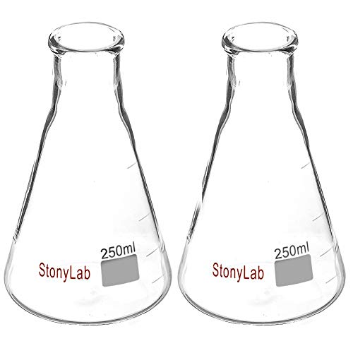 StonyLab 2-Pack Glass 250ml Heavy Wall Narrow Mouth Erlenmeyer Flasks with Heavy Duty Rim - 250ml (Erlenmeyer Narrow 250ml Flask Mouth)