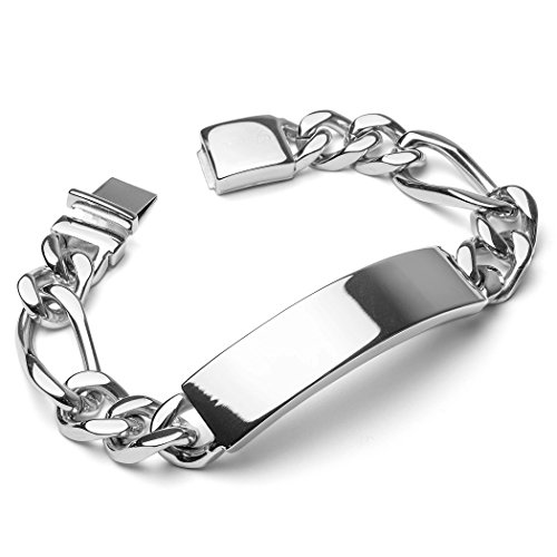 West Coast Jewelry | Crucible Stainless Steel Engravable Heavy ID Bracelet on Figaro Chain - - Bracelet 14 Mm Figaro