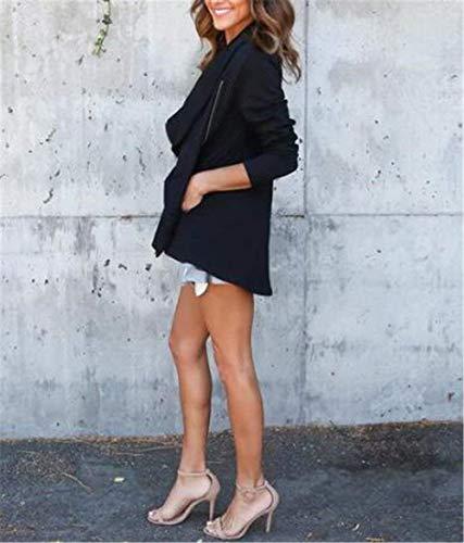 Cremallera Con Negro Outerwear Mujer Unicolor Outwear Larga Mujeres Joven Casuales Solapa Hipster Moda Battercake De Manga Casual Bolsillos Laterales Otoño Chaqueta 0xwR518R