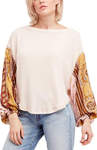 Free People Women's We The Free Blossom Thermal Top (Rose, Medium)