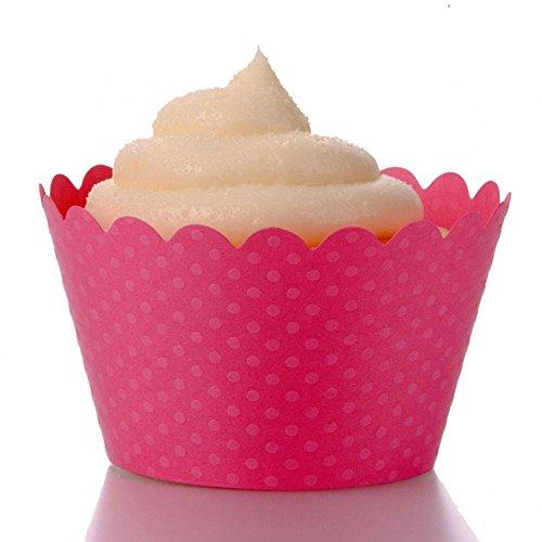 Dress My Cupcake Standard Hollywood Pink Cupcake Wrappers, Set of 12 (Ribbon Cupcake Wrapper)