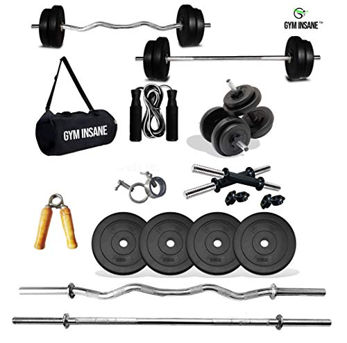 Gym Insane™ Home Gym Combo Workout equipments 20kg Weight Barbell Rod 5 feet, 14″Dumbbell Set curl Rod,Gym Accessories for Women & Men kit.