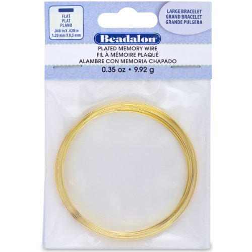 Memory Designs Bracelet Wire (Beadalon Large Flat Bracelet Memory Wire for Beading, 0.35-Ounce, Gold)