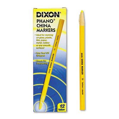 Dixon Phano Non-Toxic China Marker - Yellow Lead - 12 / Box -