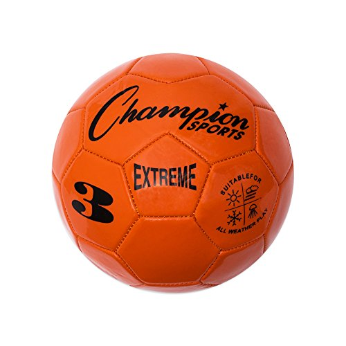 (Champion Sports Extreme Series Soccer Ball, Size 3 - Youth League, All Weather, Soft Touch, Maximum Air Retention - Kick Balls for Kids Under 8 - Competitive and Recreational Futbol Games, Orange)