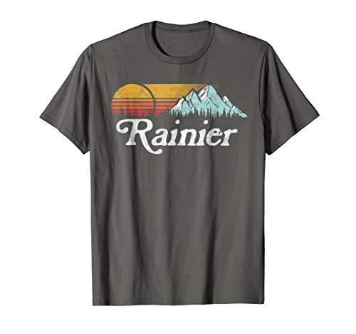 (Retro Vibe Mount Rainier T-Shirt - Vintage Mountains & Sun)