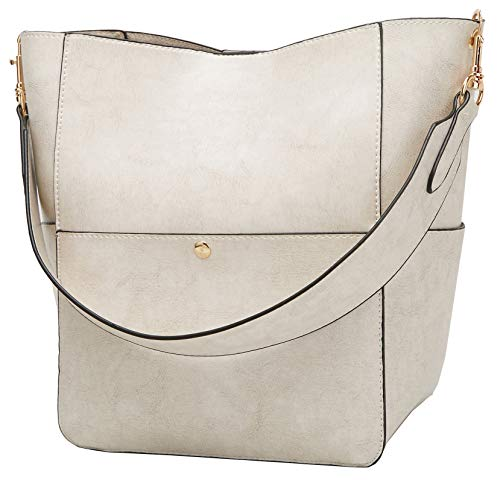 White Leather Handbag Purse - Molodo Women's Satchel Hobo Top Handle Tote Shoulder Purse Soft Leather Crossbody Designer Handbag Big Capacity Bucket Bags (Ivory white)
