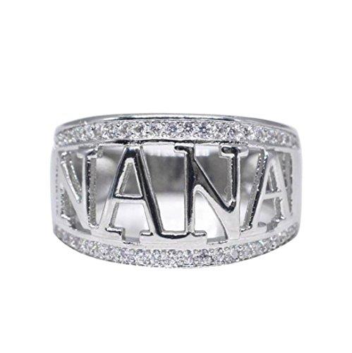 Clearance Rings Daoroka Exquisite Nana Ring Cubic Zirconia Diamond Nana Birthday Present Jewelry Gift (6, (Sterling Silver Cat Oval Bracelets)